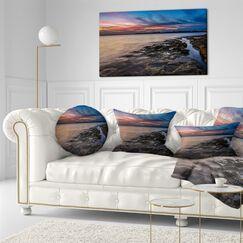 Sky and Dark Rocky Sydney Coast Seashore Throw Pillow Size: 20