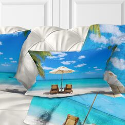 Beach with Chairs Seashore Photo Pillow Size: 12