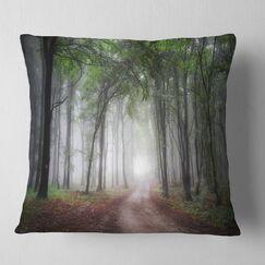 Light Through Green Fall Forest Landscape Photography Pillow Size: 26
