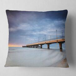 Long Concrete Pier into Sea Sea Bridge Pillow Size: 26