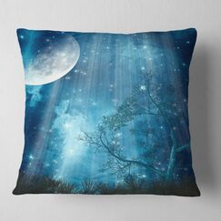 Big Moon in Forest Landscape Printed Pillow Size: 26