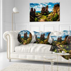 Belogradchik City Fortress and Cliffs Landscape Printed Throw Pillow Size: 20