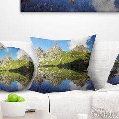 Lake in Tatra Mountain Landscape Photo Pillow Size: 16