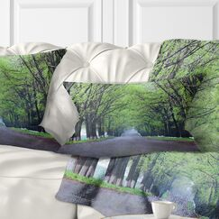 Arched Trees over Country Road Landscape Photography Pillow Size: 12