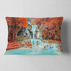 Landscape Photography Rainforest Waterfall Loas Lumbar Pillow