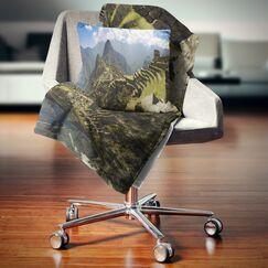 Landscape Photo Machu Picchu Panorama Pillow Size: 18