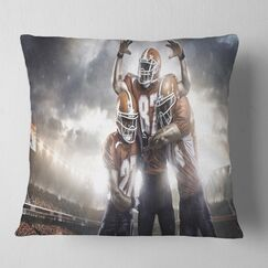 Sport American Football Players on Stadium Pillow Size: 26