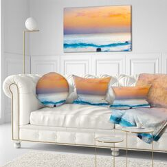 Photography Sunset Panorama Throw Pillow Size: 16