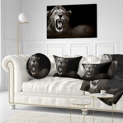 Animal Lion Displaying Fiery Face Throw Pillow Size: 16