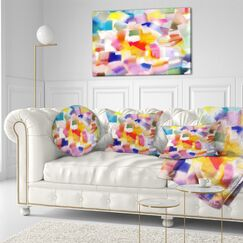 Abstract Colorful Stain Design without Grid Throw Pillow Size: 20