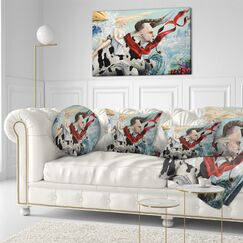 Abstract The Rape of Europe Throw Pillow Size: 16
