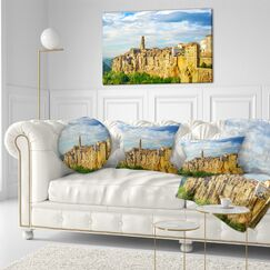 Photography Tuscany Pitigliano Medieval Village Throw Pillow Size: 20
