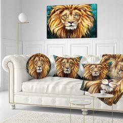 Animal Lion Head Throw Pillow Size: 20