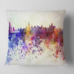 Cityscape Chicago Skyline Pillow Size: 18