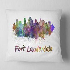 Cityscape Fort Lauderdale Skyline Pillow Size: 26