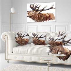 Animal Deer Head Illustration Art Throw Pillow Size: 20