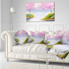 Landscape Flowering Trees over River Throw Pillow Size: 16