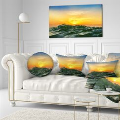 Beach Bright Sunlight and Glowing Waves Throw Pillow Size: 16