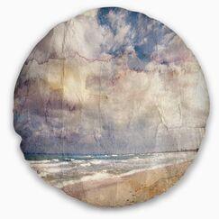 Seascape Retro Ocean Watercolor Throw Pillow Size: 20