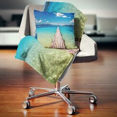 Seascape Wooden Pier in Tropical Paradise Throw Pillow Size: 16