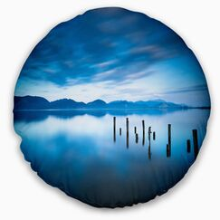 Landscape Lake with Wooden Pier Throw Pillow Size: 16