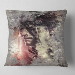 Abstract Portrait Native American Indian Warrior Pillow Size: 26
