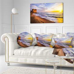 Seashore Castle Santa Severa over Sunset Italy Throw Pillow Size: 16