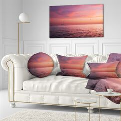 Seascape Reddish Serene Maldives Seashore Throw Pillow Size: 16