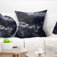 Photography Helicopter over Storm Ruined City Pillow Size: 26