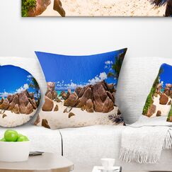Landscape Photography Rocky Tropical Beach Panorama Pillow Size: 26