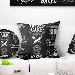 Abstract Bakery Characters Pillow Size: 18