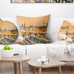 Cityscape Photo Stockholm Cityscape Panorama Throw Pillow Size: 16