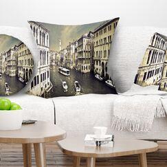Photography Venice Cityscape Pillow Size: 26