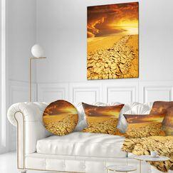 Designart Drought Land Under Dramatic Sky Landscape Printed Throw Pillow