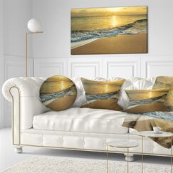 Beach Waves Under Yellow Sunset Modern Throw Pillow Size: 16