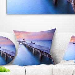 Landscape Seascape Wooden Bridge Pillow Size: 26