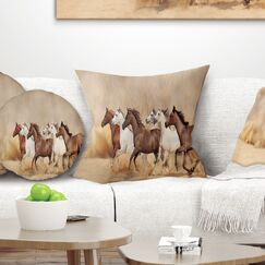 Landscape Herd Gallops Pillow Size: 26