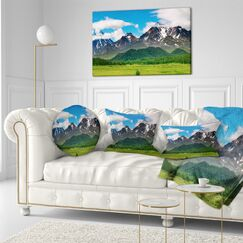 Landscape Photography Snowy Volcanoes Throw Pillow Size: 20