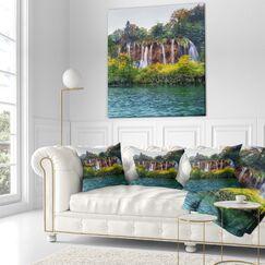 Designart 'Plitvice Lakes Croatia' Landscape Photo Throw Pillow Size: 16