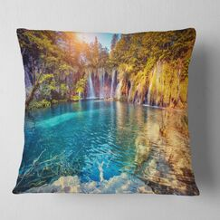 Landscape Photography Water and Sunny Beams Throw Pillow Size: 26