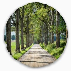 Landscape Photography Old Road through Alley Throw Pillow Size: 20