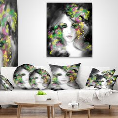 Designart 'Fantasy Portrait Woman' Abstract Portrait Throw Pillow Size: 18