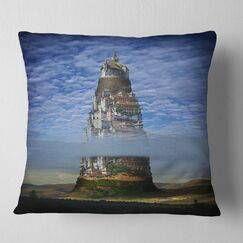 Landscape Printed Gigantic Castle Collage Throw Pillow Size: 16