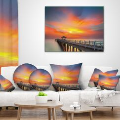Pier Seascape Wooden Bridge Under Sky Throw Pillow Size: 20