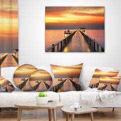 Pier Seascape Sky and Long Wooden Bridge Throw Pillow Size: 16