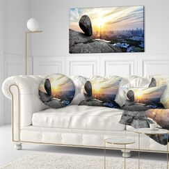 Landscape Buildings and Crag on Rock Panorama Throw Pillow Size: 20