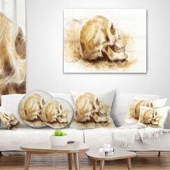 Skull on Paper Fractal Effect Throw Pillow Size: 18