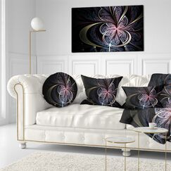 Floral Fractal Butterfly Flower Throw Pillow Size: 20