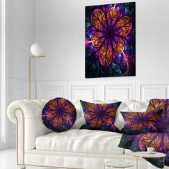 Floral Fractal Flower Throw Pillow Size: 16