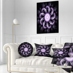 Floral Rounded Fractal Flower Throw Pillow Size: 20